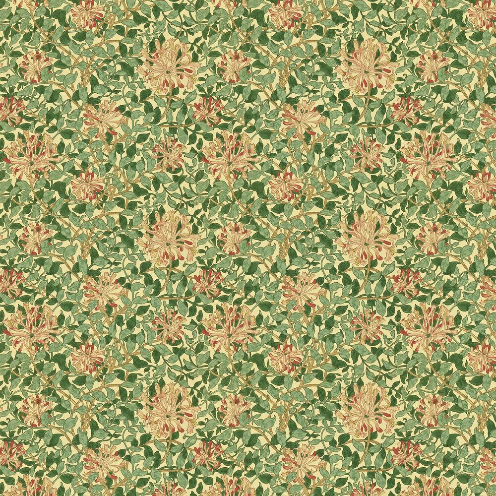 Honeysuckle Wallpaper - Green / Pink - by Morris