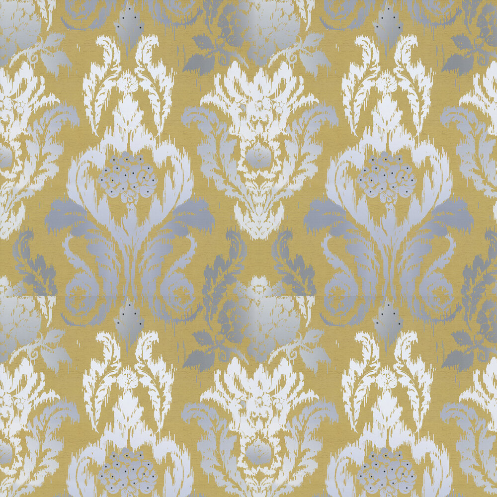 New Ikat Wallpaper - Mustard / Grey / White - by Kandola