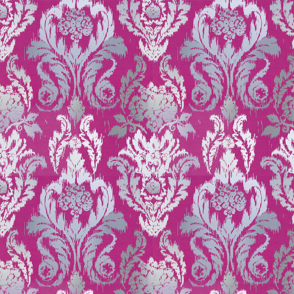New Ikat Wallpaper - Fuchsia / Grey - by Kandola