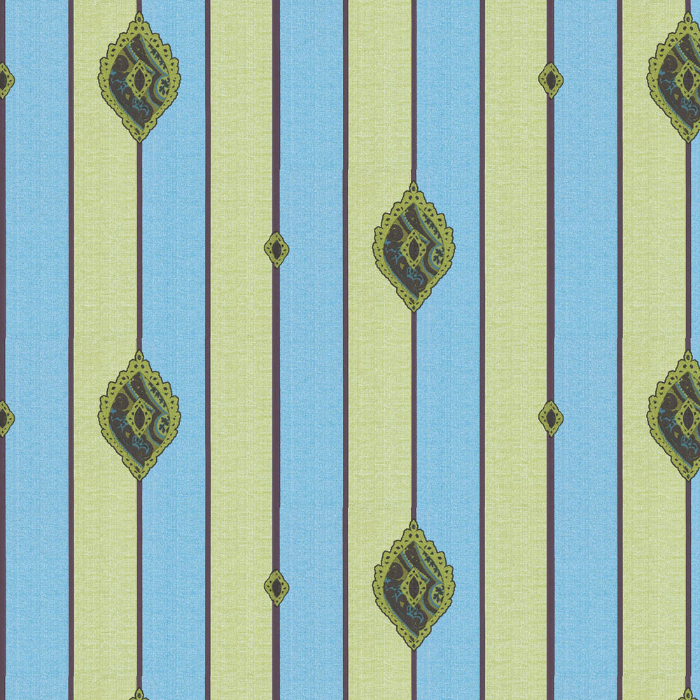 Kandola Promise Applique Green / Blue / Brown Wallpaper - Product code: DW1568/01/APP/001