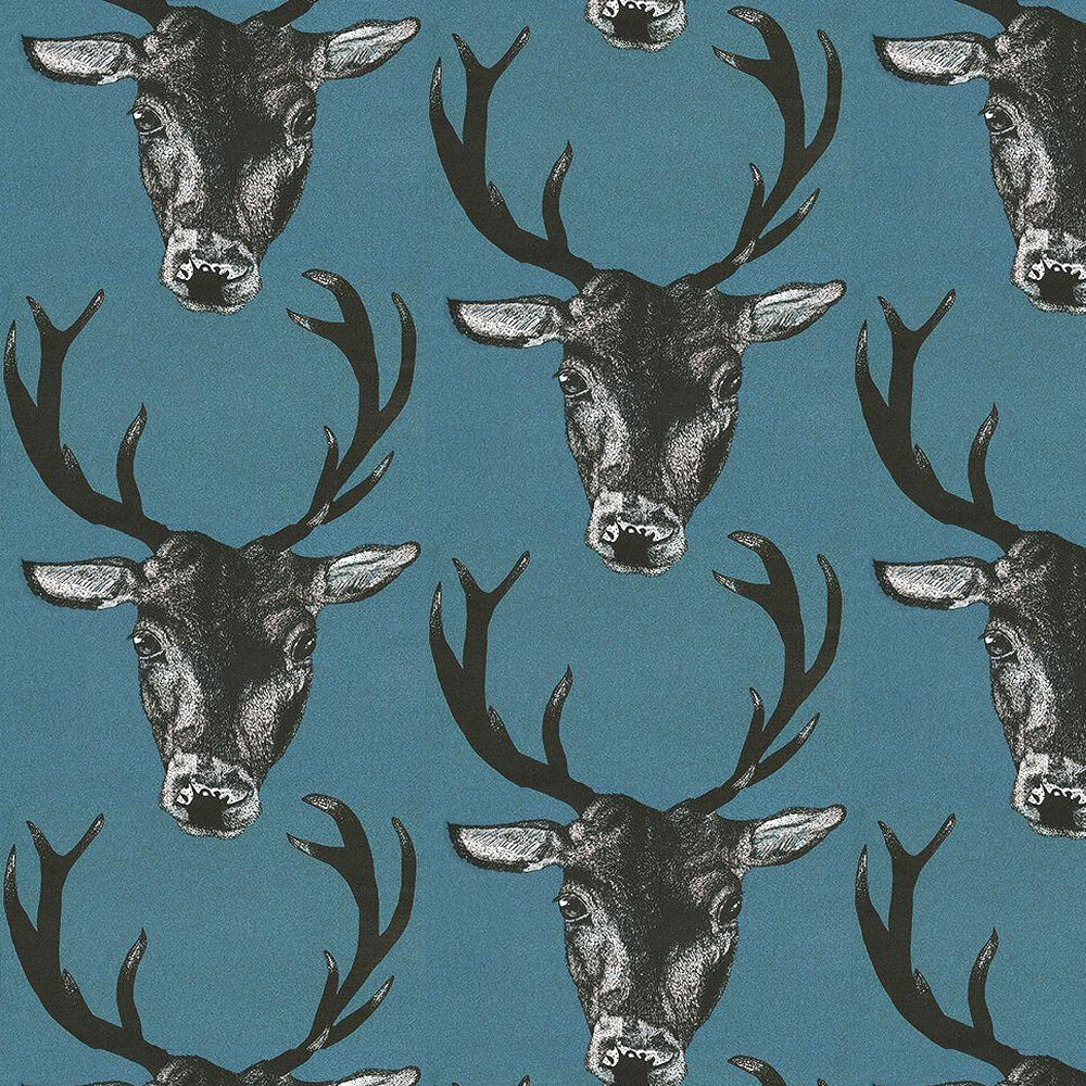 Graduate Collection Stag Head Teal Wallpaper - Product code: 26218