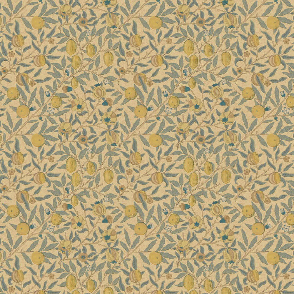 Morris Fruit Blue / Gold / Brown Wallpaper - Product code: WR8048/3
