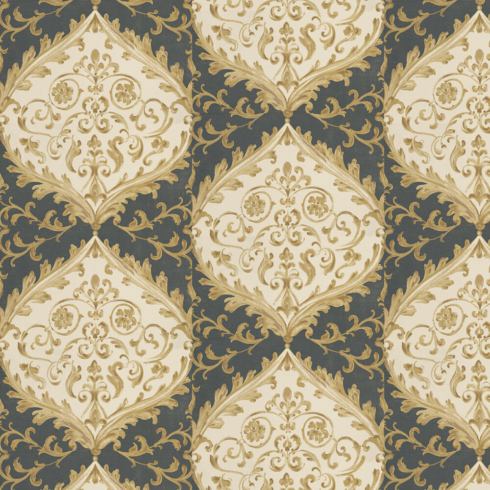 Nina Campbell Montrose Gold / Black / Grey Wallpaper - Product code: NCW4156-06