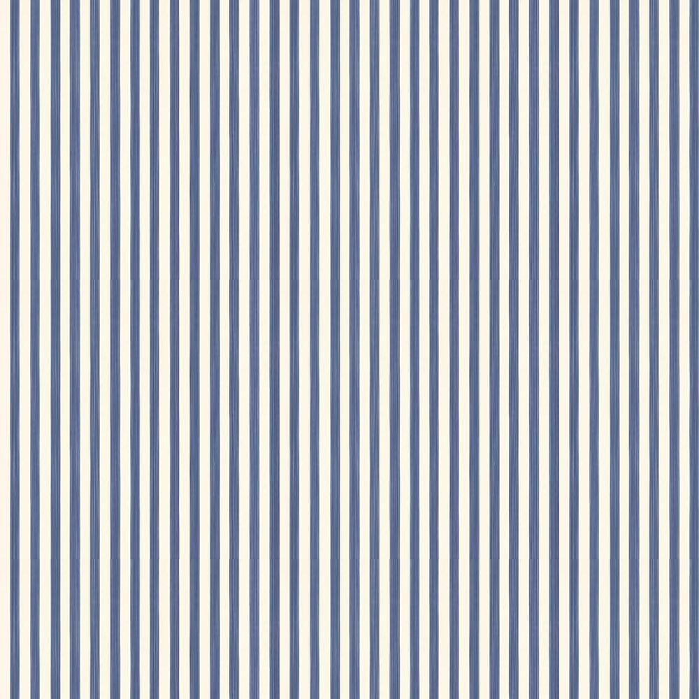 Closet Stripe Wallpaper - Indigo Blue / Off White - by Farrow & Ball