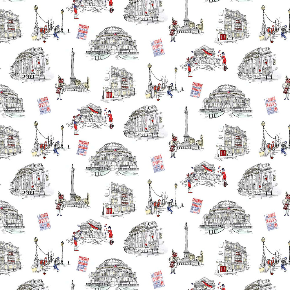 London Theatres Wallpaper - White / Grey / Red - by Albany