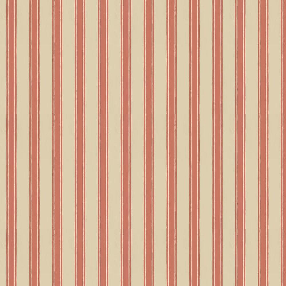 Block Print Stripe Wallpaper - Stone / Red - by Farrow & Ball