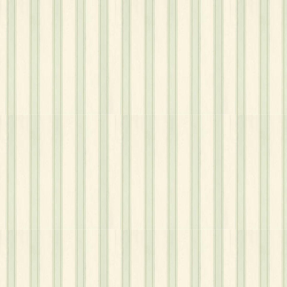 Block Print Stripe Wallpaper - Off White / Green - by Farrow & Ball