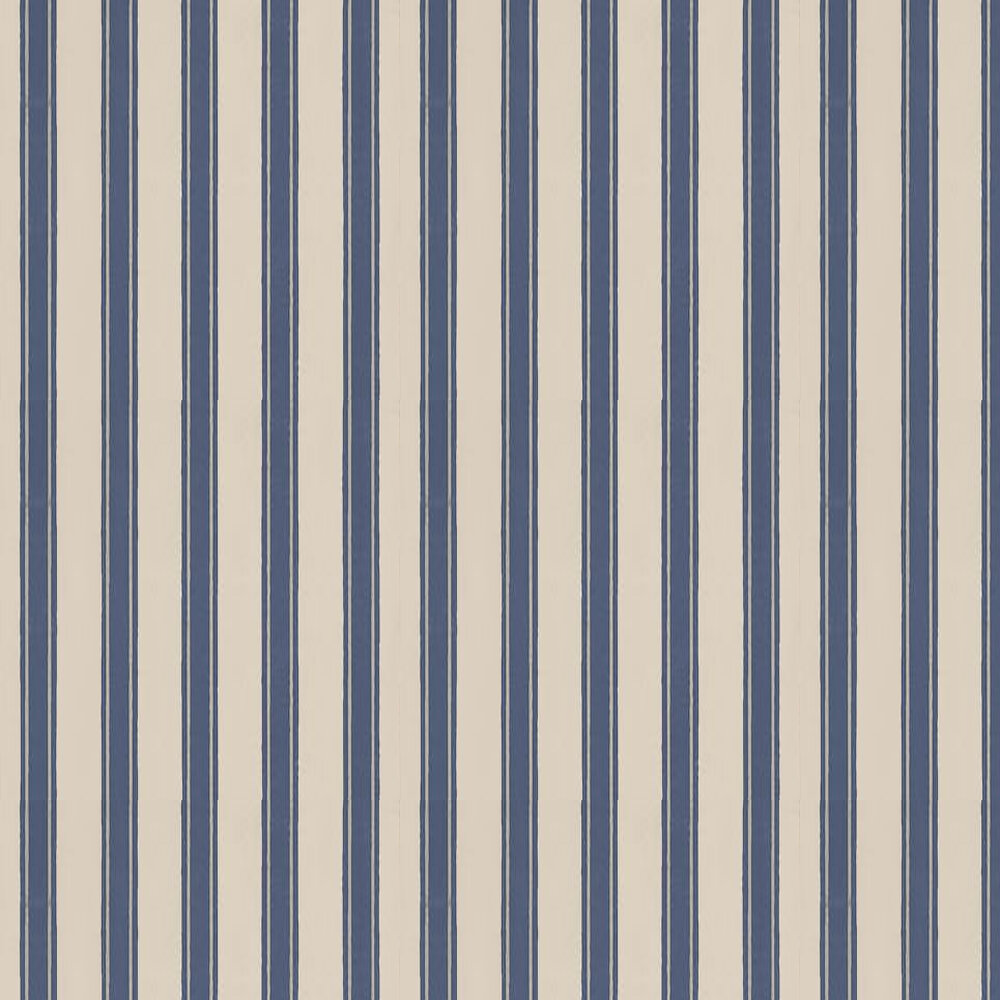Farrow & Ball Block Print Stripe Stone / Metallic Silver / Midnight Blue Wallpaper - Product code: BP 753