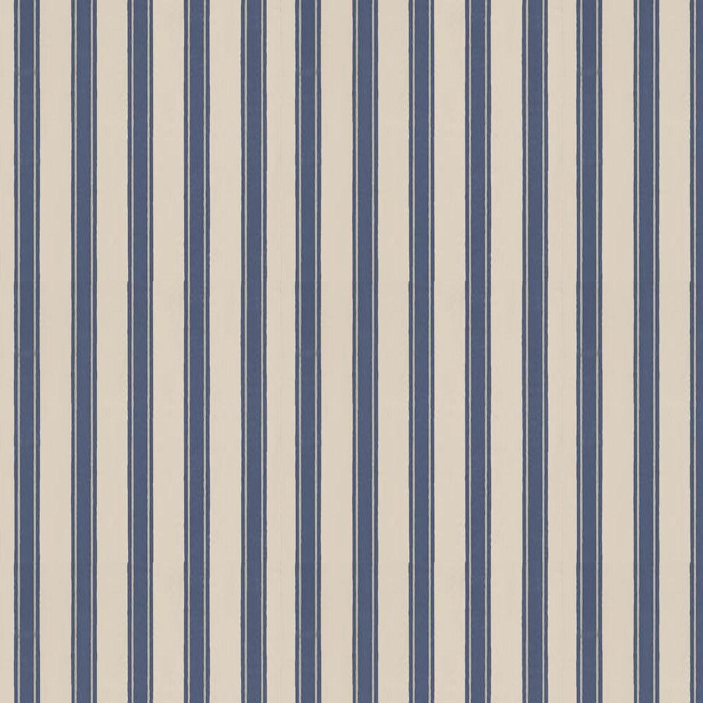 Block Print Stripe Wallpaper - Stone / Metallic Silver / Midnight Blue - by Farrow & Ball
