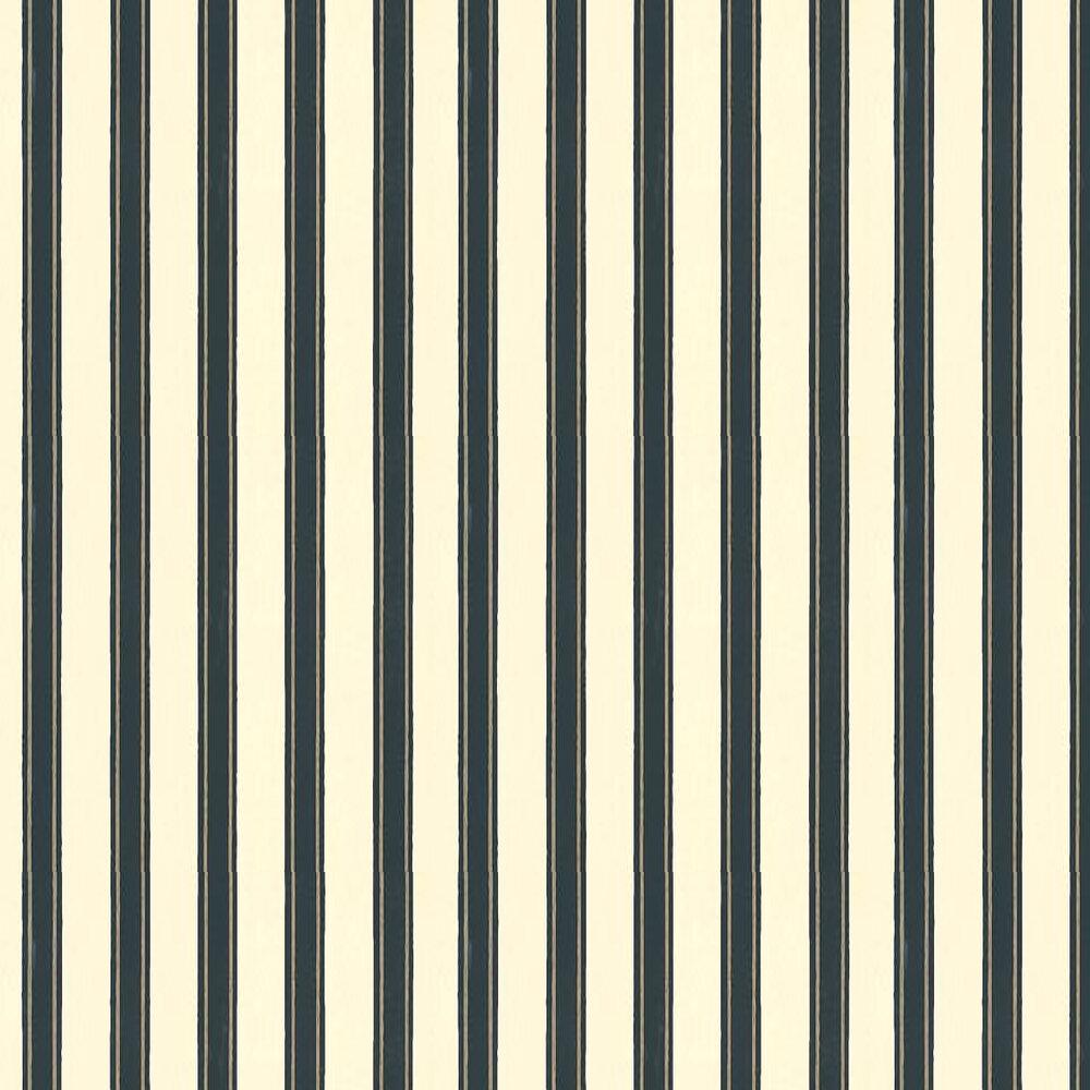 Block Print Stripe Wallpaper - Cream / Metallic Silver / Black - by Farrow & Ball