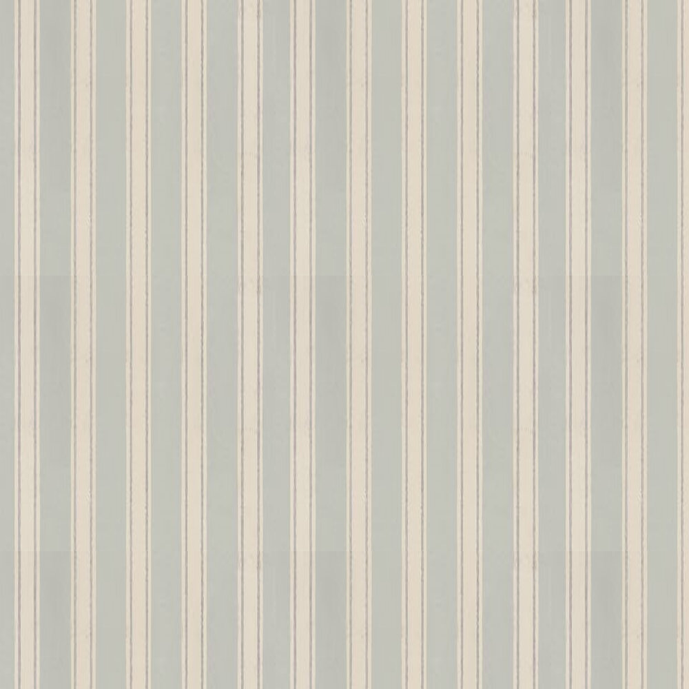 Block Print Stripe Wallpaper - Dark Duck Egg / Stone / Metallic Silver - by Farrow & Ball