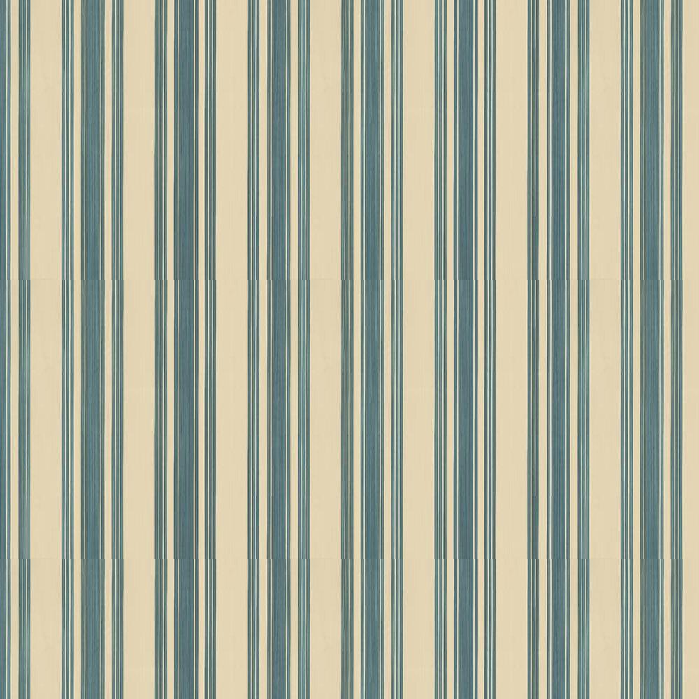 Tented Stripe Wallpaper - Teal / Beige - by Farrow & Ball