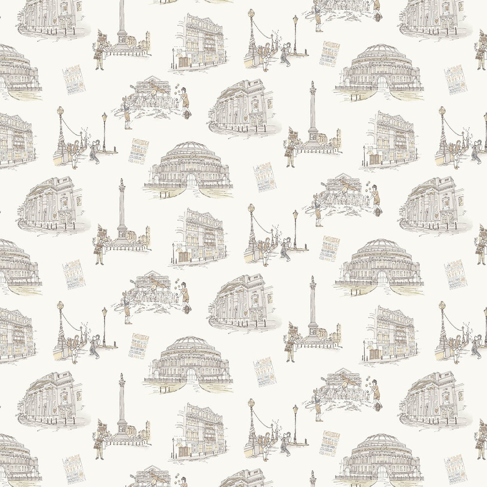 London Theatres Wallpaper - Off White / Sepia - by Albany