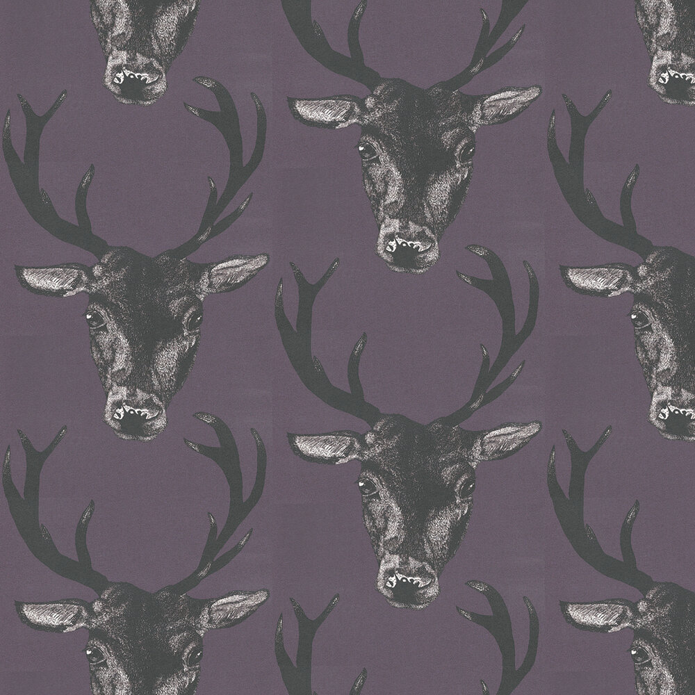 Graduate Collection Stag Head Plum Wallpaper - Product code: 29490