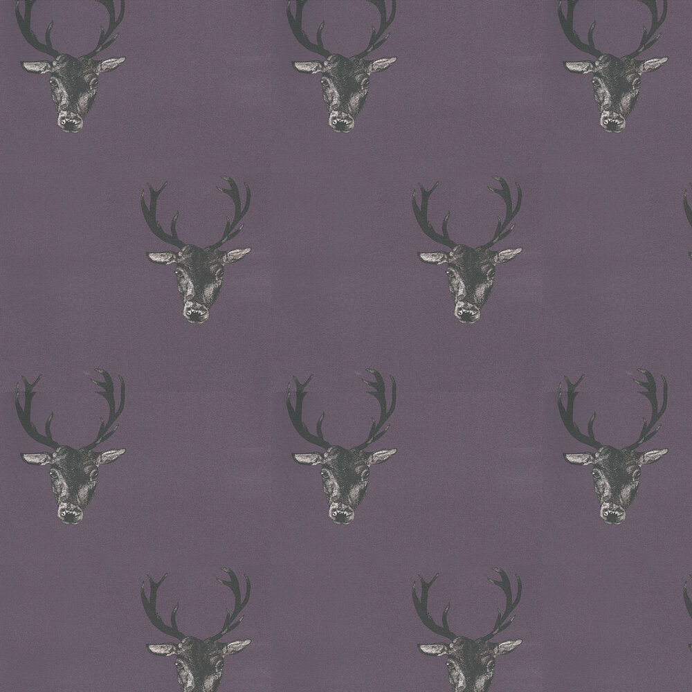 Graduate Collection Stag Print Plum Wallpaper - Product code: 29492