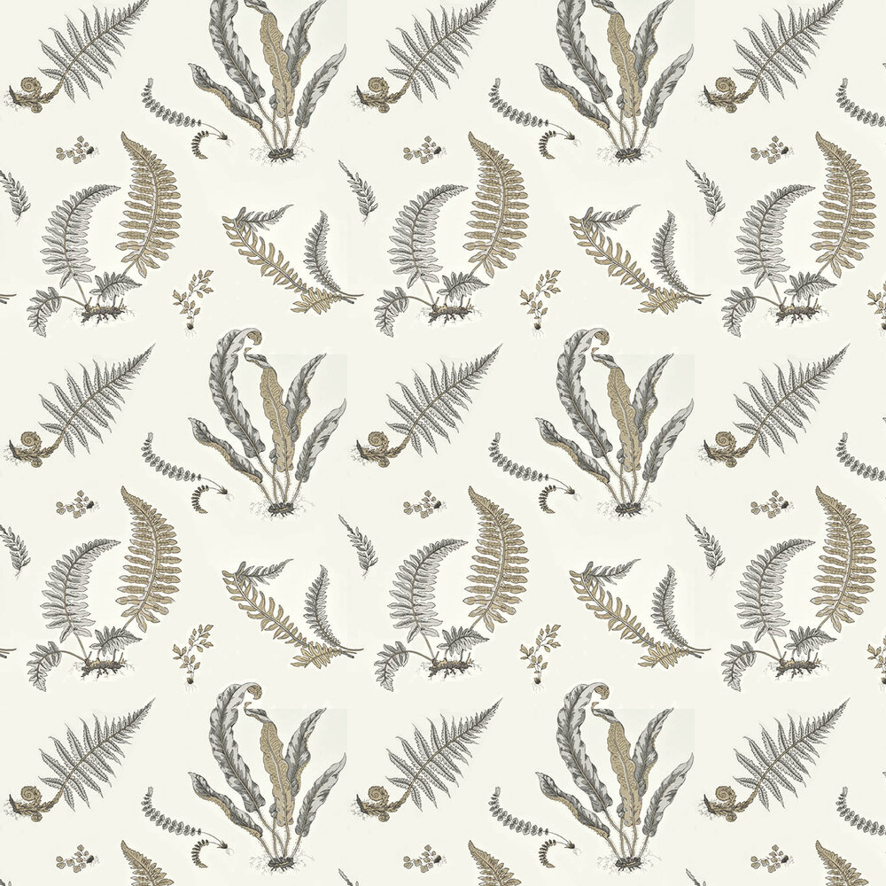 G P & J Baker Ferns Dove Grey / Silver Wallpaper - Product code: BW45044/4