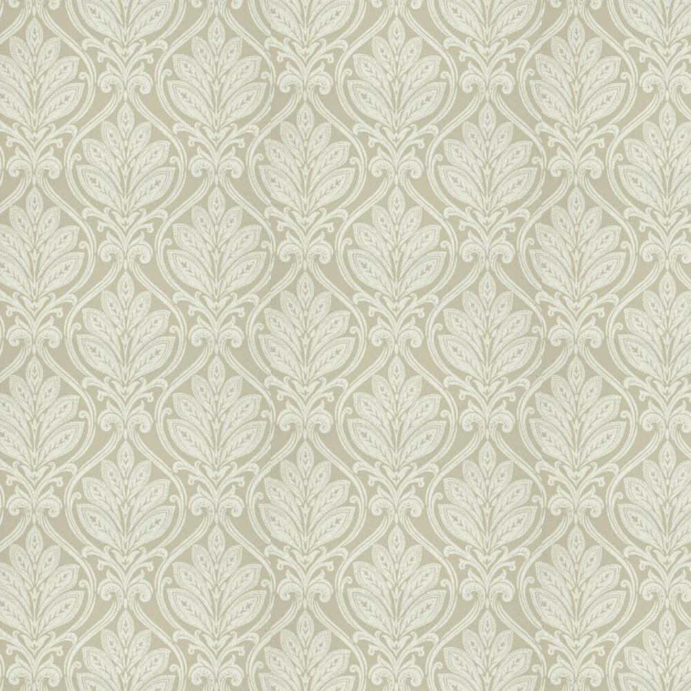 Ryecote Damask Wallpaper - Ivory / Stone - by G P & J Baker
