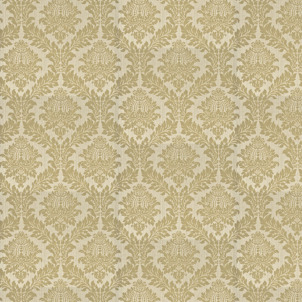 Lydford Damask Wallpaper - Taupe - by G P & J Baker