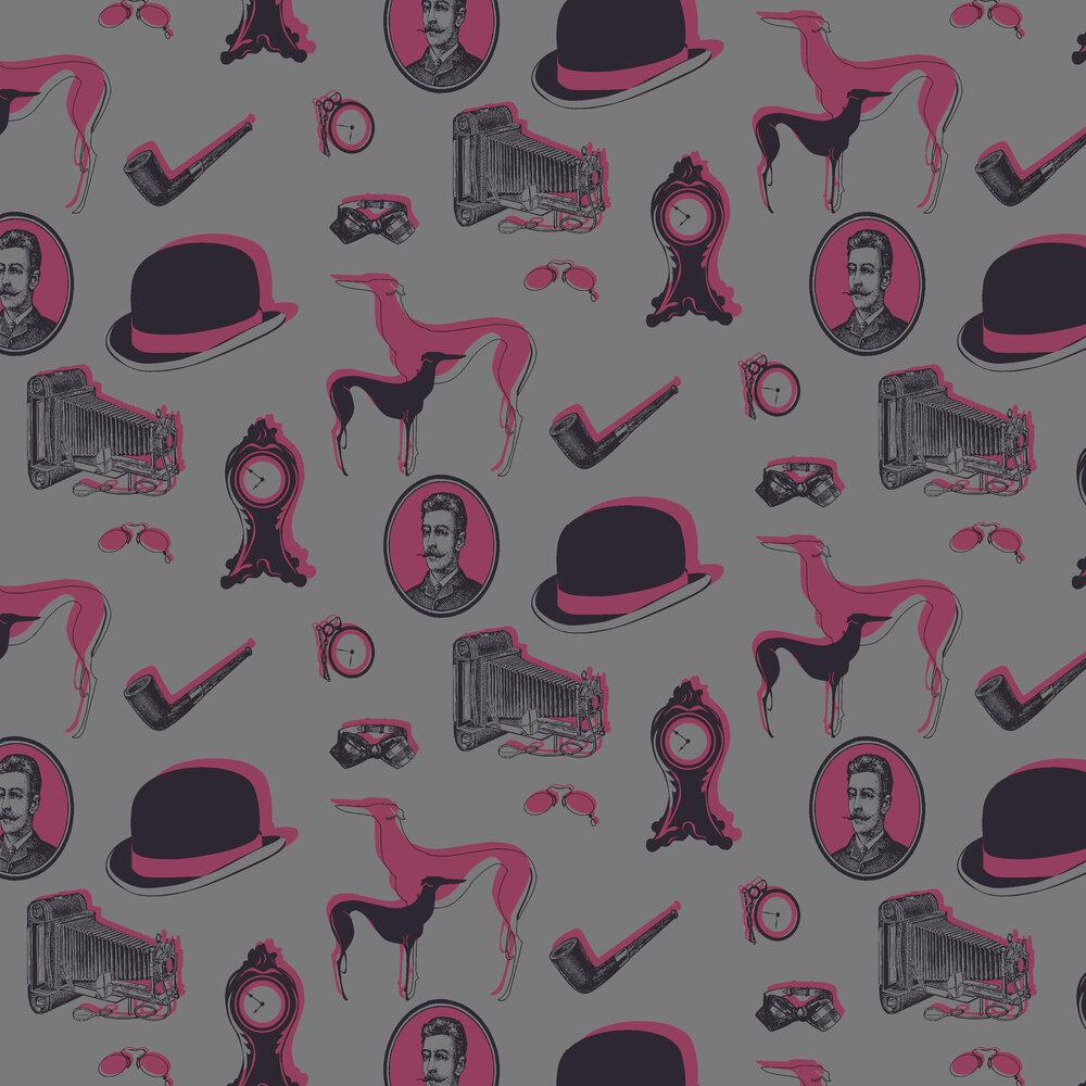 Opus Muras Bertie Pink / Black Wallpaper - Product code: OMGR07103