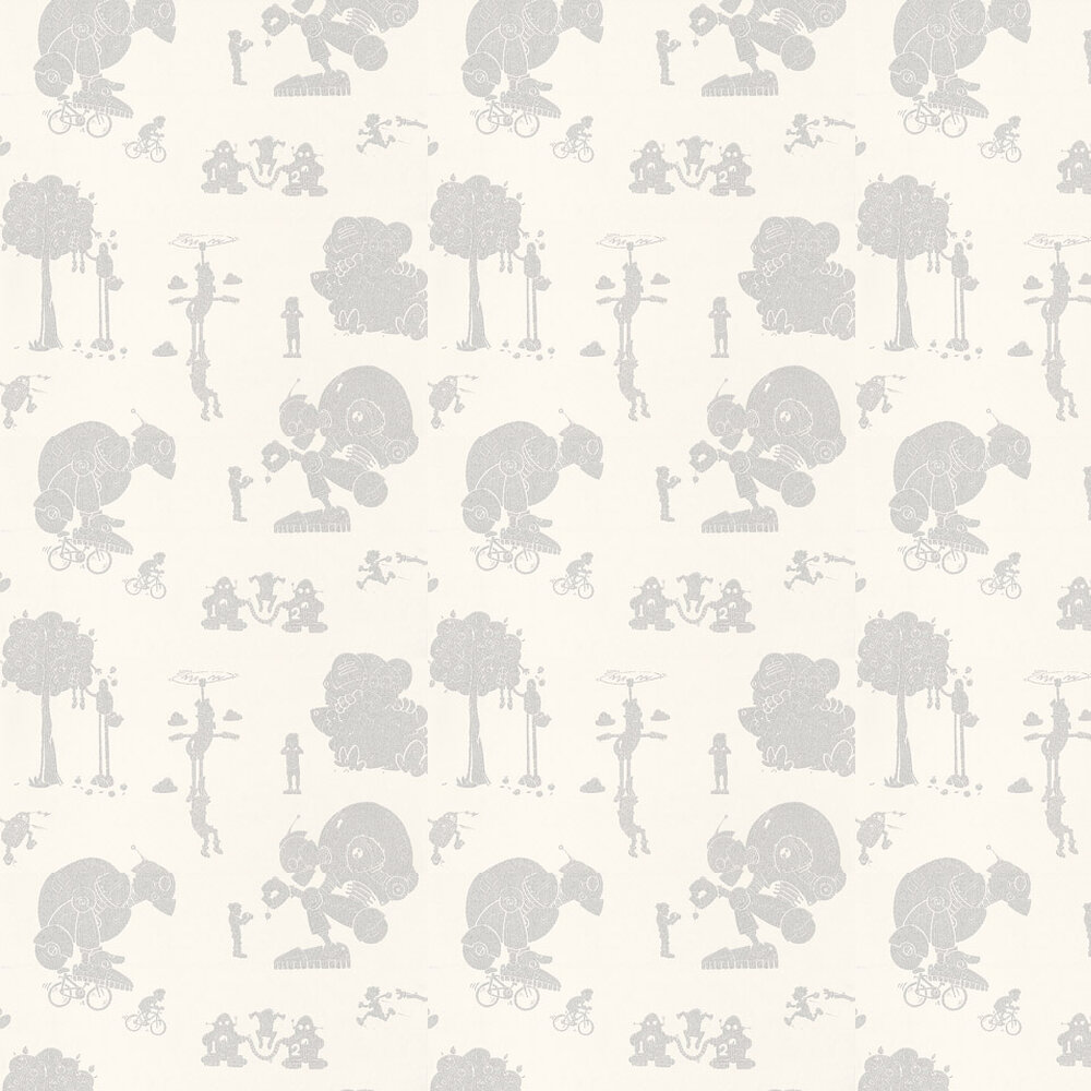 Brave New World Wallpaper - White / Silver - by PaperBoy