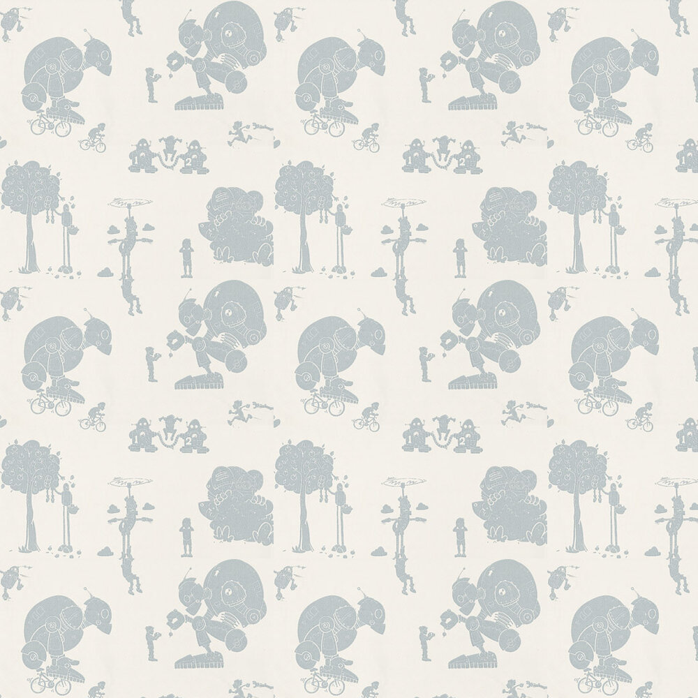 Brave New World Wallpaper - Blue / White - by PaperBoy