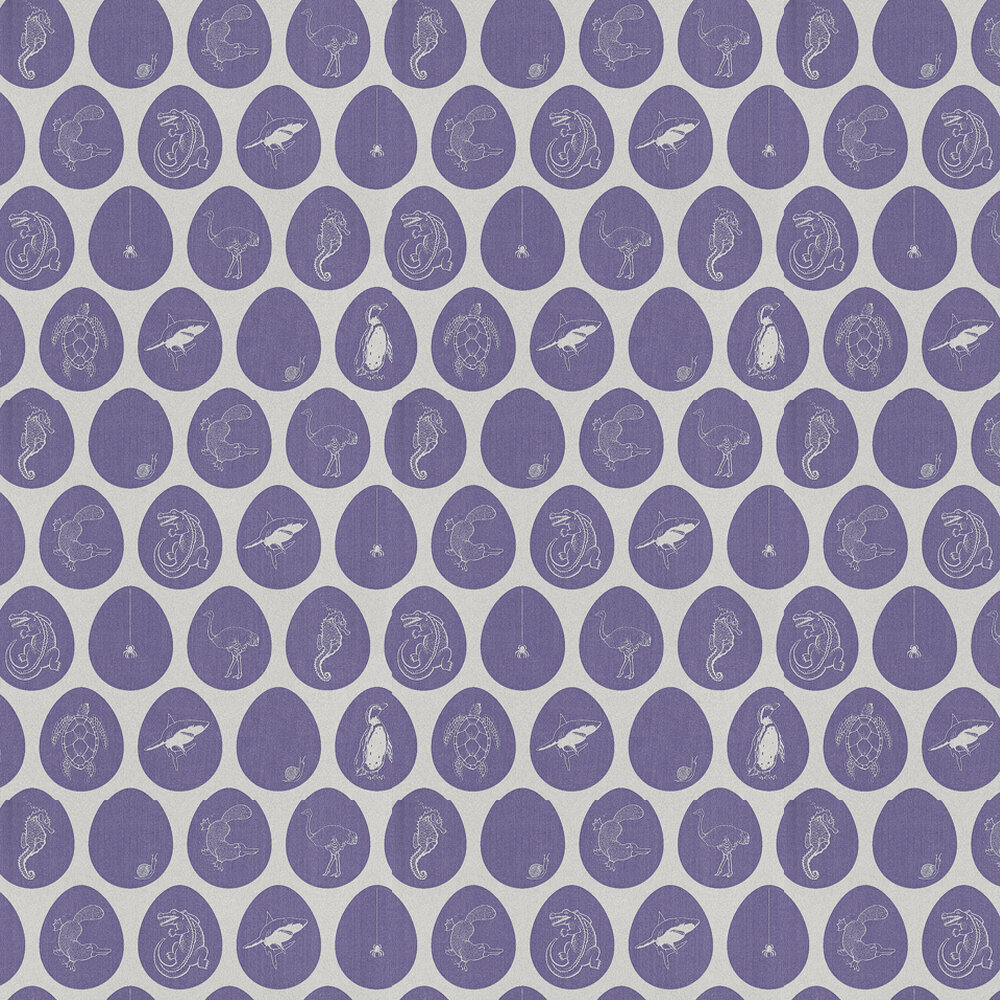 PaperBoy Which Came First Silver / Mauve Wallpaper - Product code: WCF/WP/SILVER