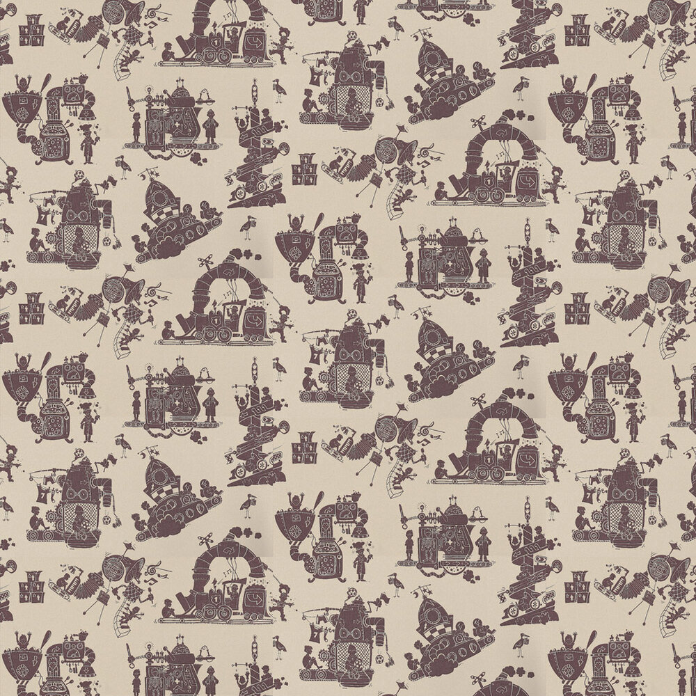When I Grow Up Wallpaper - Aubergine - by PaperBoy