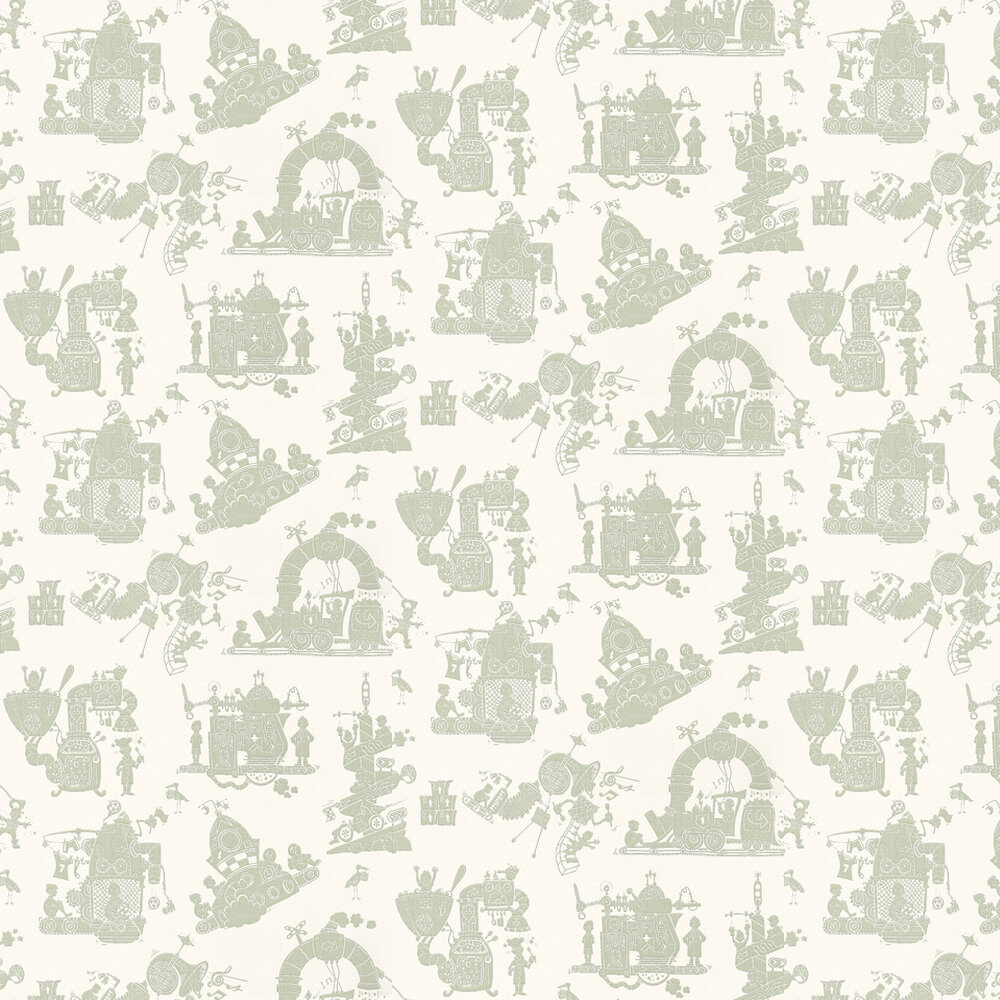 When I Grow Up Wallpaper - Green / Cream - by PaperBoy