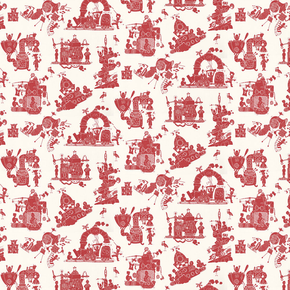 When I Grow Up Wallpaper - Red / White - by PaperBoy