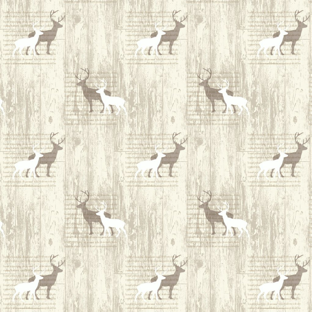 Stag Cream Wallpaper - Cream / Taupe - by Arthouse
