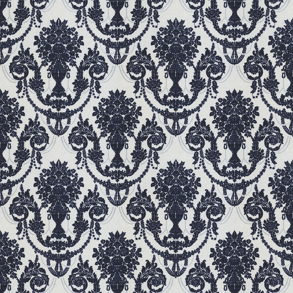 Albany Palace Flock Navy / Cream Wallpaper - Product code: M0826