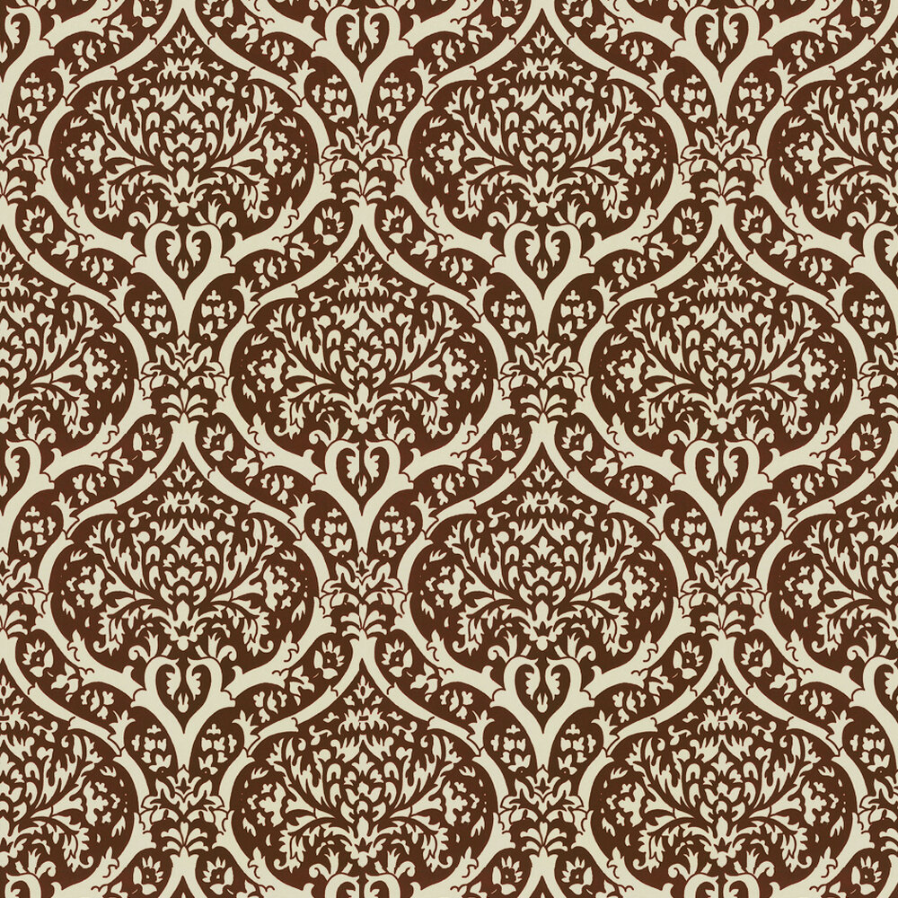 Palladium Flock Wallpaper - Burgundy / Cream - by Albany