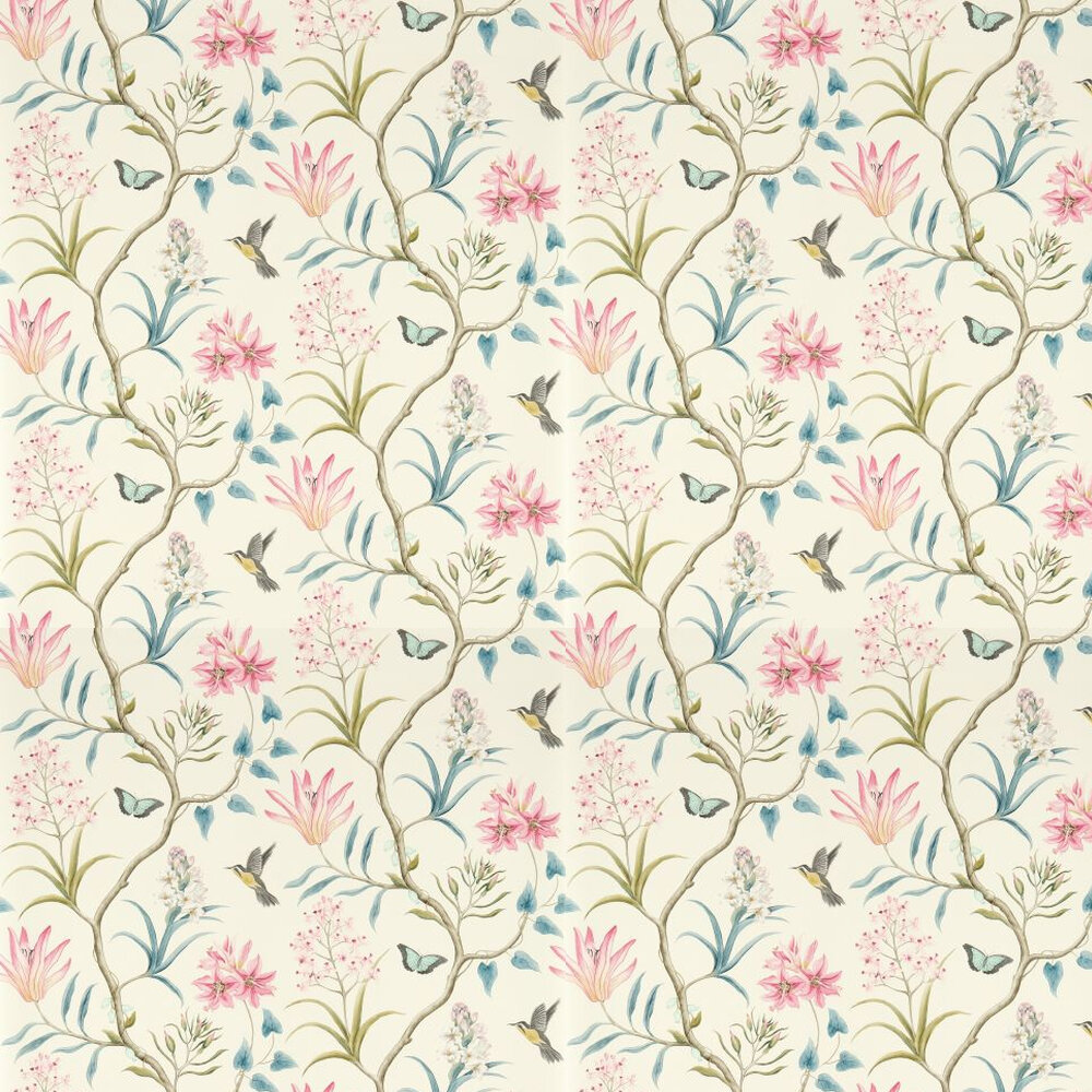 Sanderson Clementine Pink / Blue Wallpaper - Product code: 213386