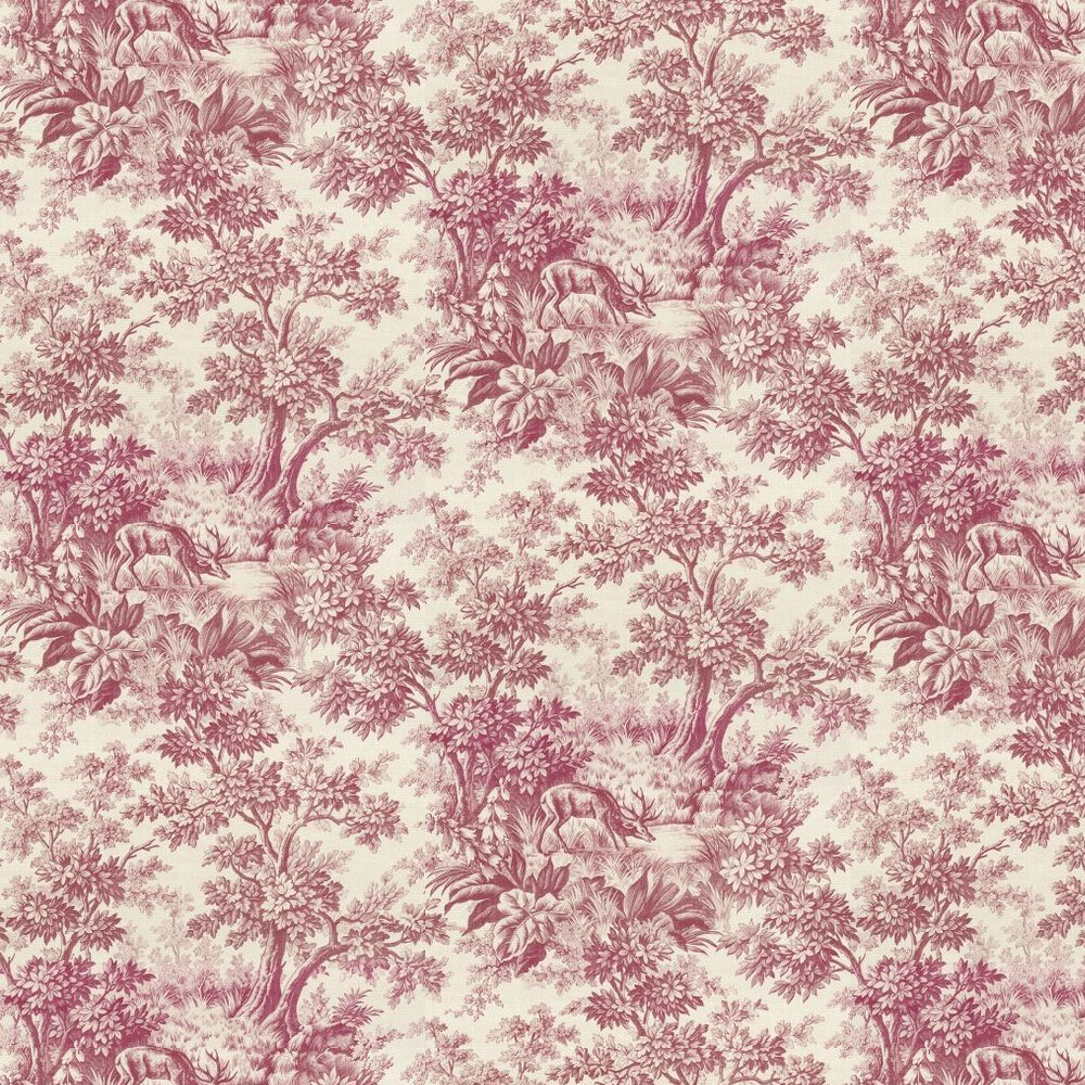 Stag Toile  Wallpaper - Burgundy - by Little Greene