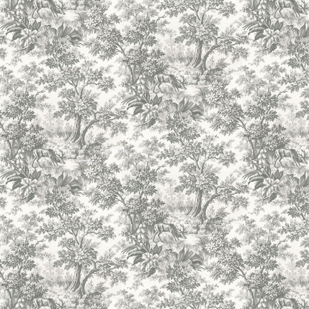 Stag Toile  Wallpaper - Moss - by Little Greene