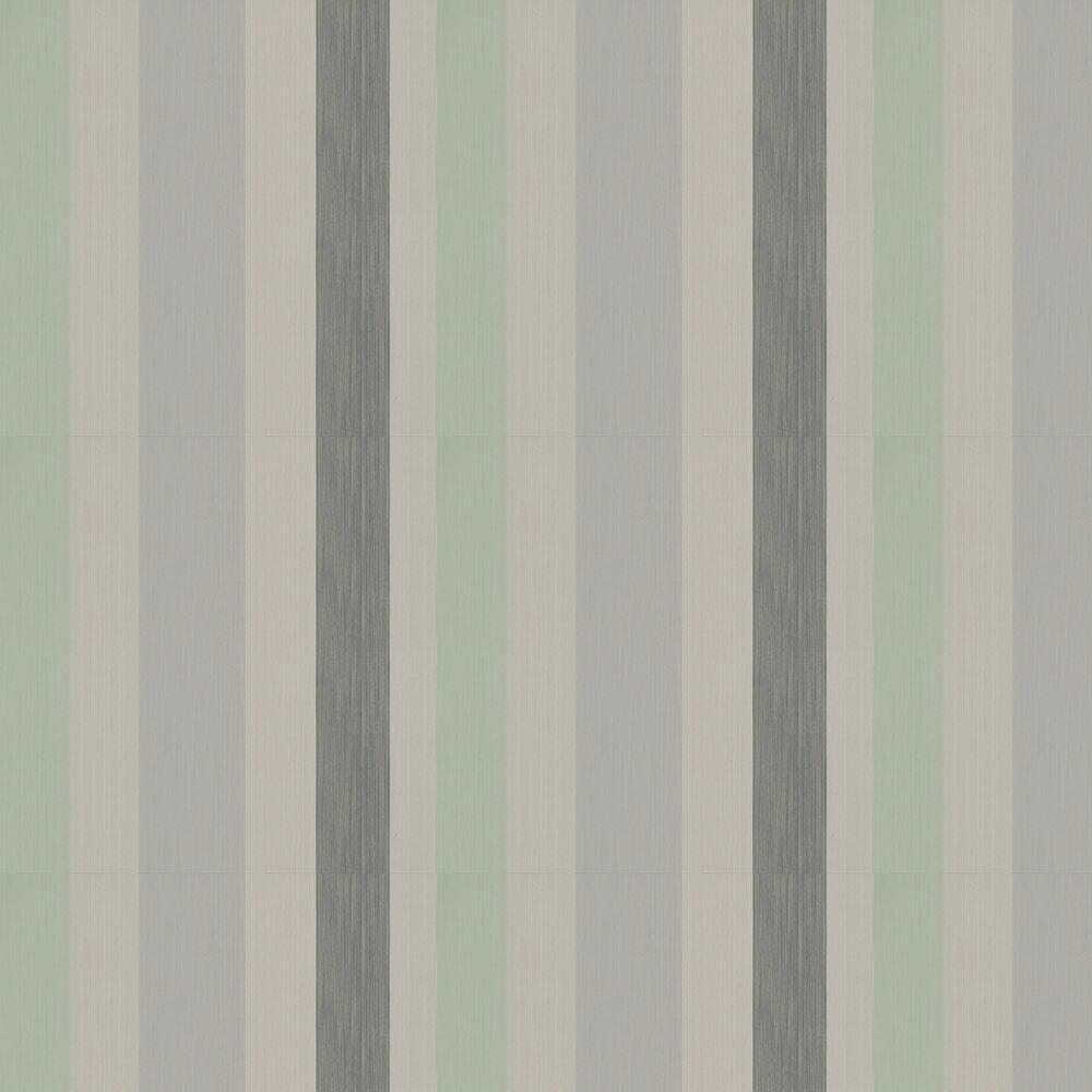 Chromatic Stripe Wallpaper - Green/ Taupe/ Black/ Grey - by Farrow & Ball