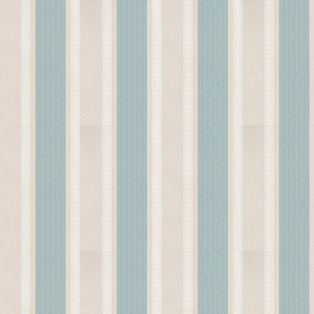 Osborne & Little Chantilly Stripe Taupe / Blue / White Wallpaper - Product code: W6595-03