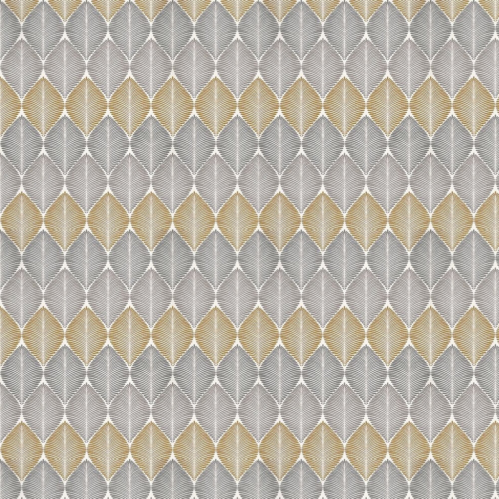 Osborne & Little Leaf Fall Metallic Silver / Gilver / Yellow Wallpaper - Product code: W6591-01