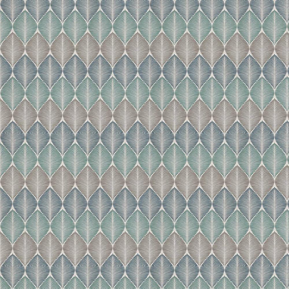 Osborne & Little Leaf Fall Metallic Peacock / Gilver / Turquoise Wallpaper - Product code: W6591-02