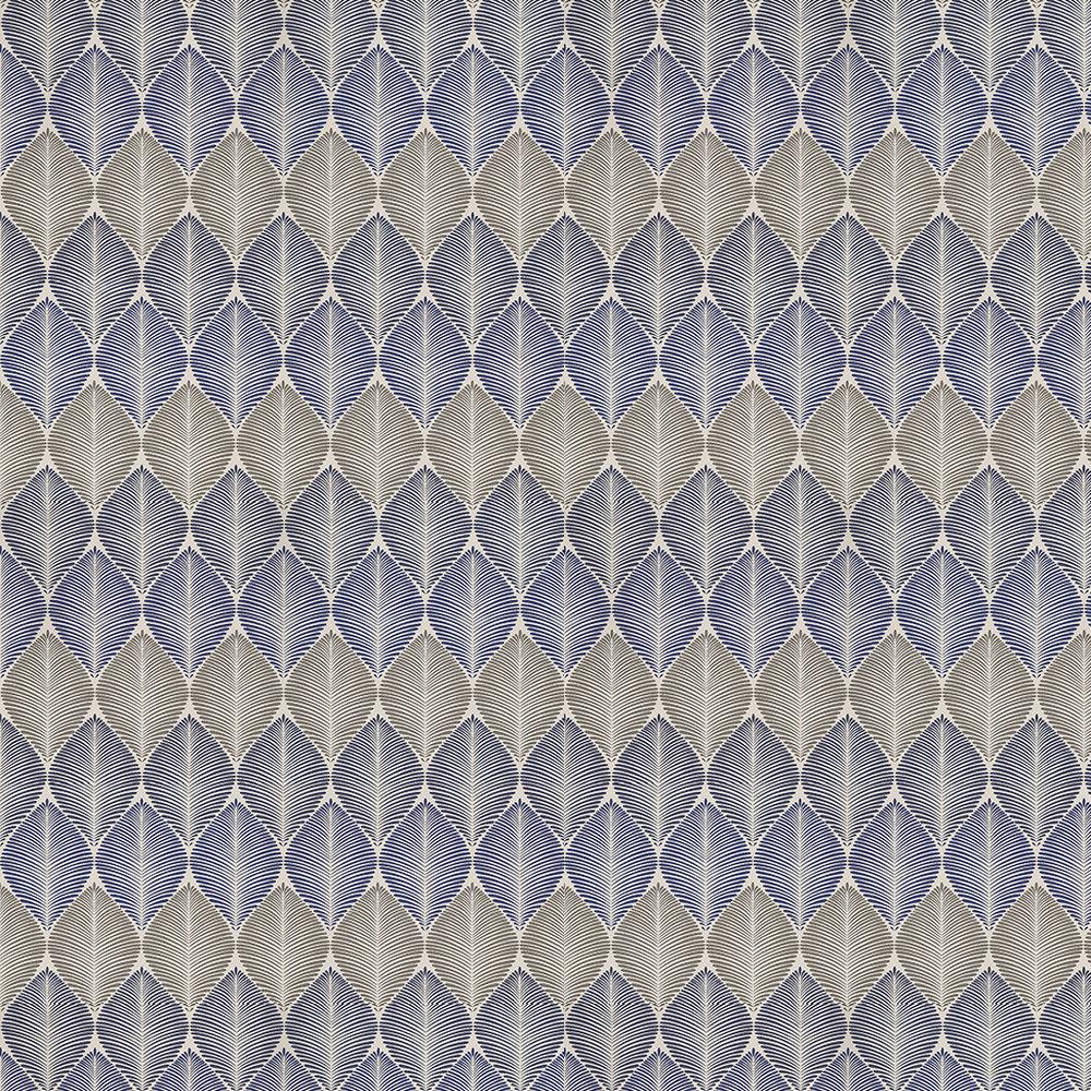 Osborne & Little Leaf Fall Metallic Navy / Blue / Pewter Wallpaper - Product code: W6591-03
