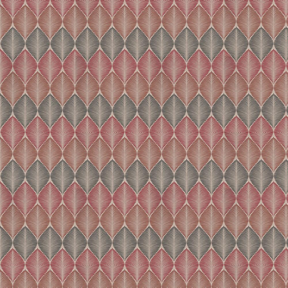 Osborne & Little Leaf Fall Metallic Cranberry Cacoa / Mandarin Wallpaper - Product code: W6591-07