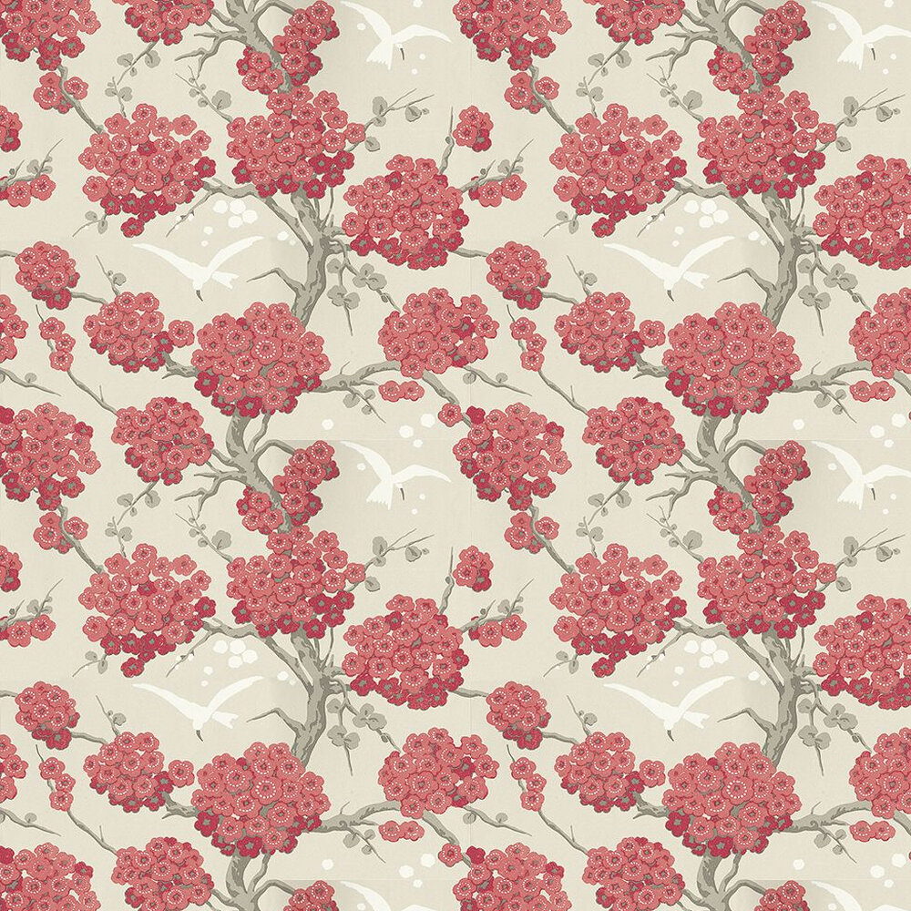 Osborne & Little Japonerie Red / Linen / Taupe Wallpaper - Product code: W6590-05