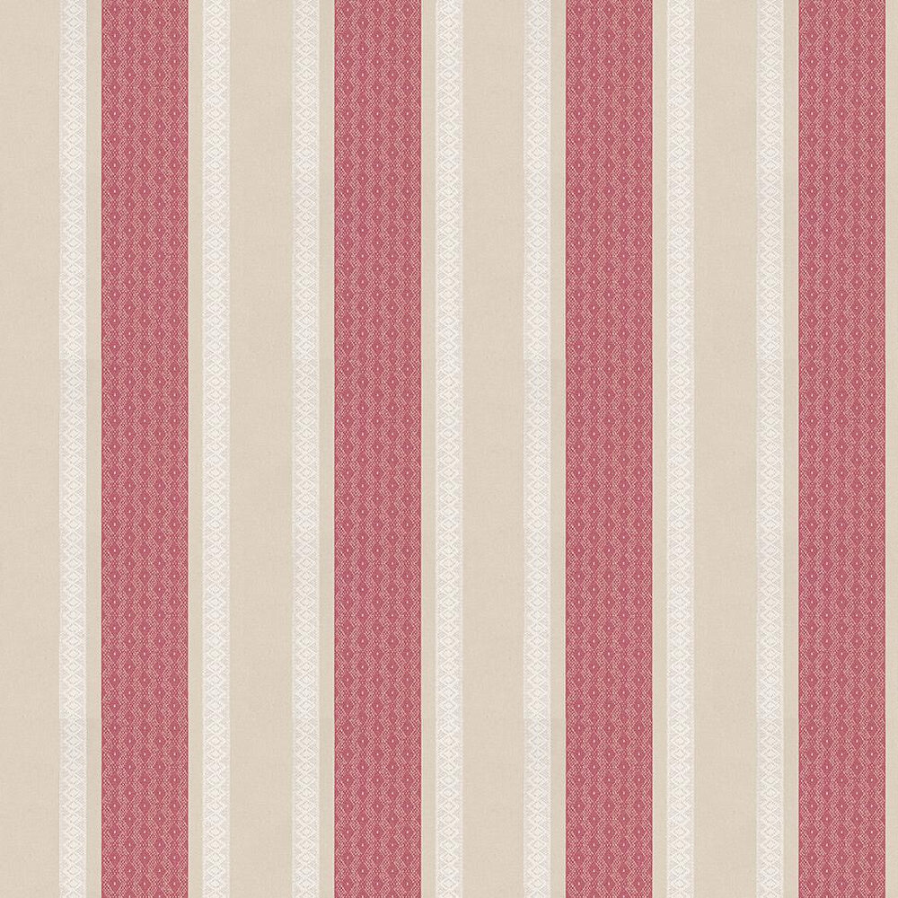 Osborne & Little Chantilly Stripe Red / Linen / White Wallpaper - Product code: W6595-05