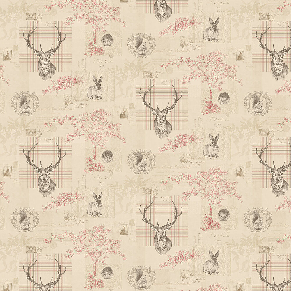 Richmond Wallpaper - Cranberry / Linen - by Albany