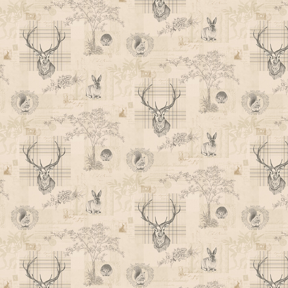 Richmond Wallpaper - Charcoal / Beige - by Albany