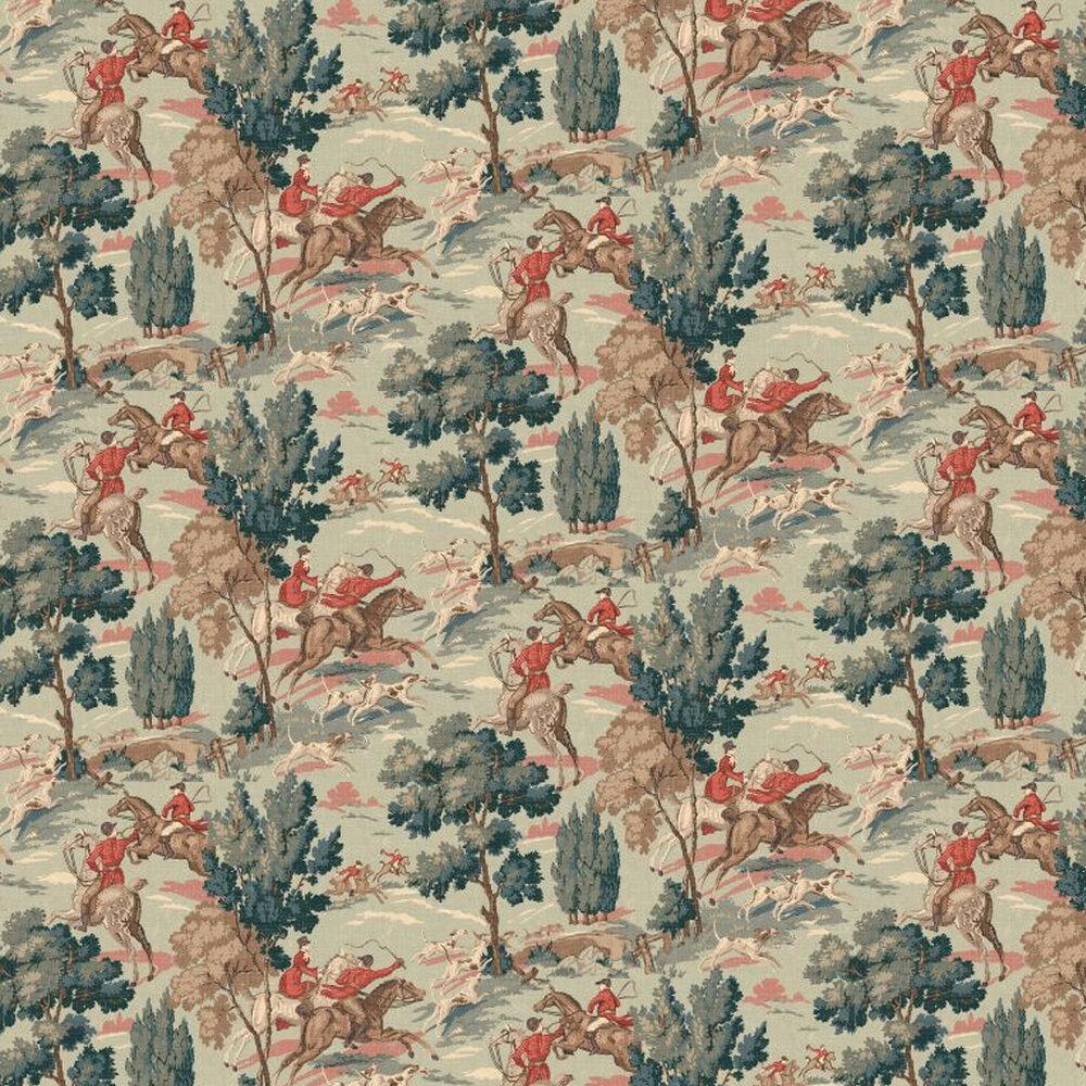 Tally Ho! Wallpaper - Aqua - by Linwood