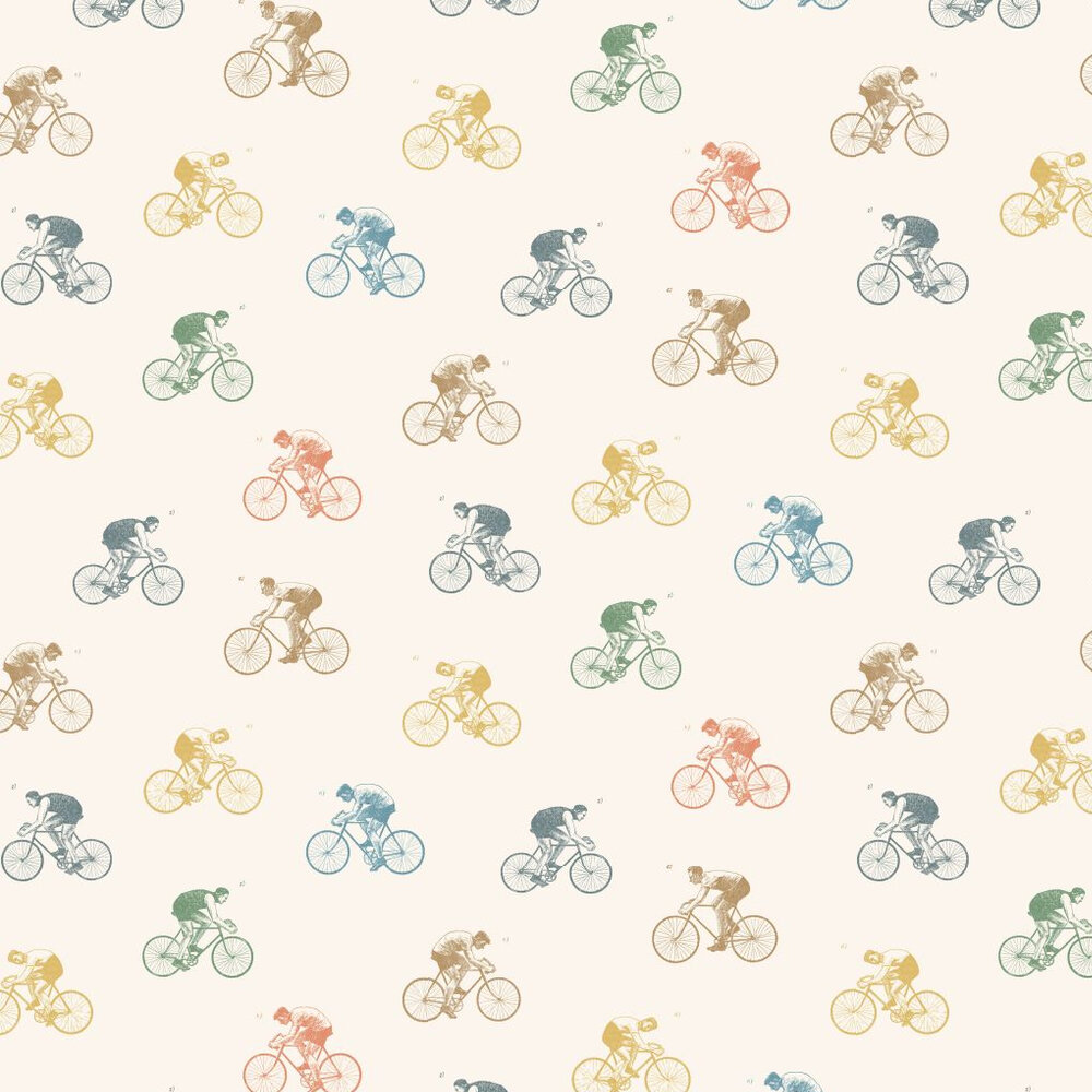 On Yer Bike Wallpaper - Off White - by Linwood