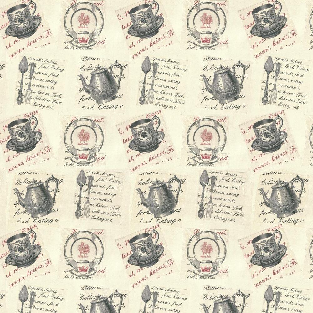 Linwood Earl Grey Black / Grey / Cream / Red Wallpaper - Product code: LW1453/1