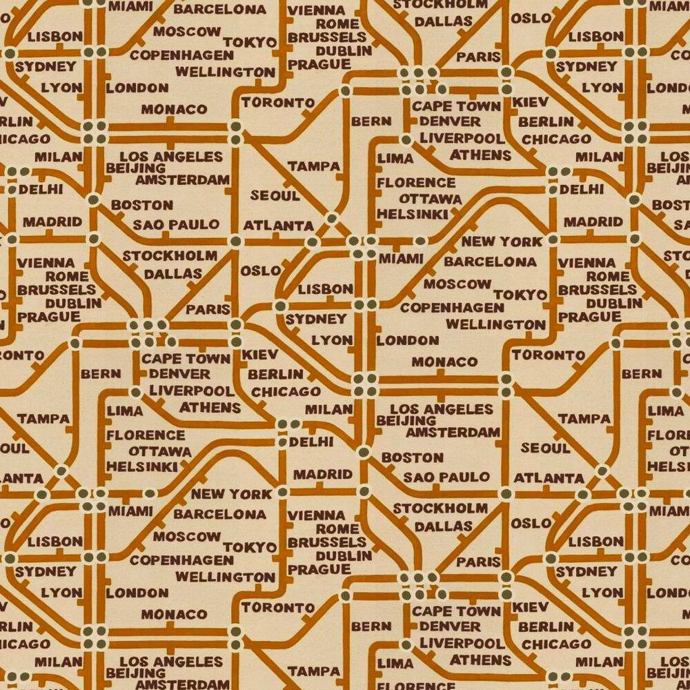 Linwood Mind The Gap  Orange / Black / Cream Wallpaper - Product code: LW1455/1