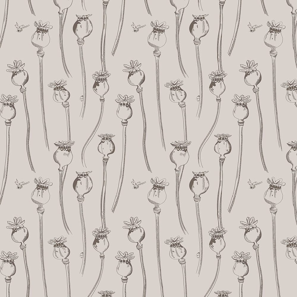 Hubbard and Reenie Poppy Pepper Pots Dormouse Soft Grey / Pink Wallpaper - Product code: PPPDM